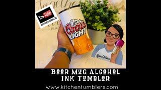Beer Mug Tumbler, Alcohol Ink and Acrylic Tumbler Tutorial, 20oz Modern Curve Tumbler