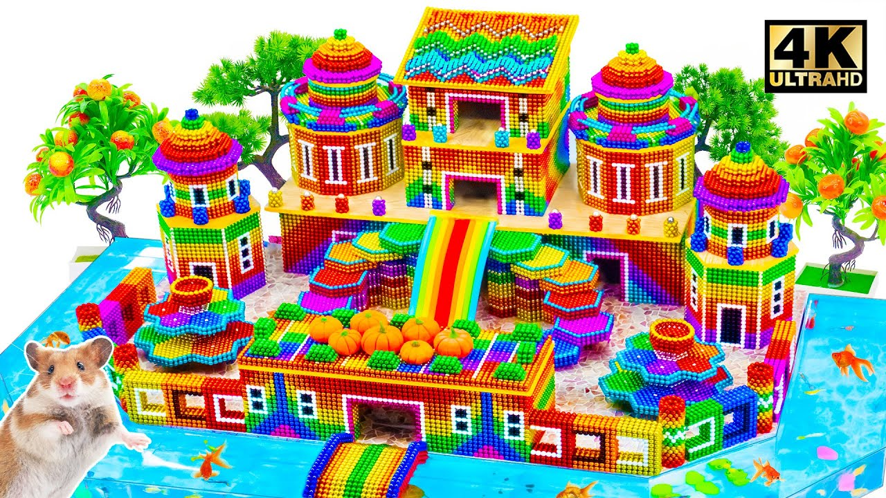 Build Beautiful Castle Mud House Have Turtle & Fish River Around From Magnetic Balls