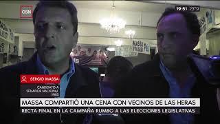 Massa compartió una cena con vecinos de Las Heras