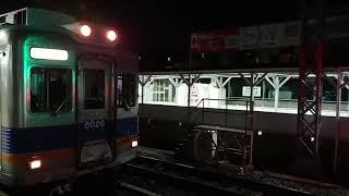 南海高野線 堺東駅6000系(6007+6909編成)回送発車+6300系(6305編成) 各停なんば行 停車