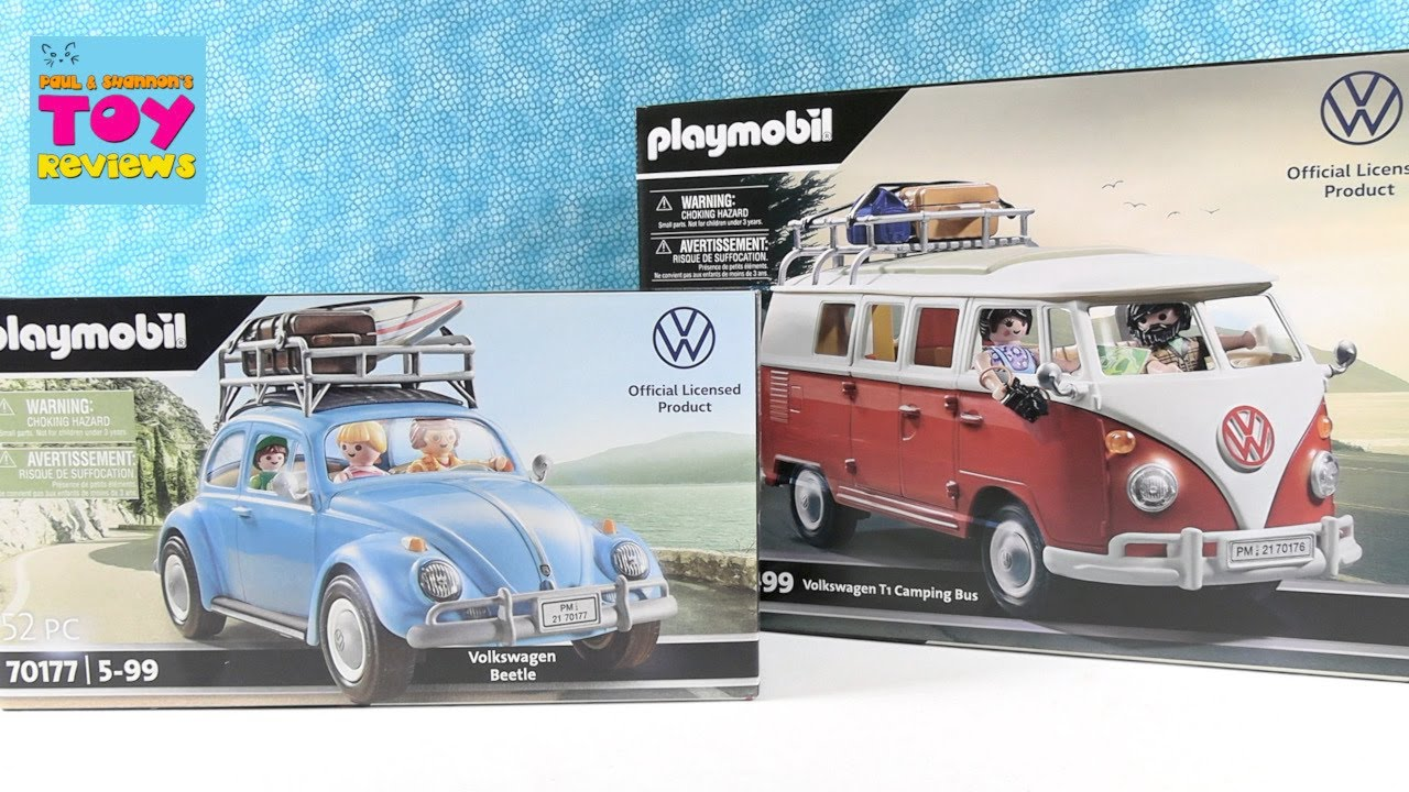 PLAYMOBIL VW Volkswagen Beetle & T1 Camping Bus Set Unboxing Review   PSToyReviews