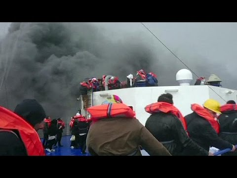 Dramatic phone footage of rescue from ferry blaze