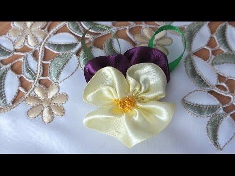 Цветы из лент мастер класс Анютины глазки просто быстро красиво