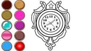 Glitter Wall Clock Coloring and Drawing Colors for Toddlers   Mirza Colors Kids