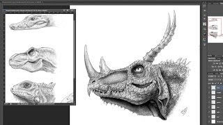 How to draw a dragon head concept design process side view using animal reference