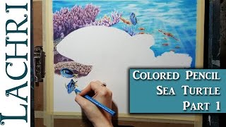 Colored Pencil Sea turtle part 1 - background water and coral w/ lachri