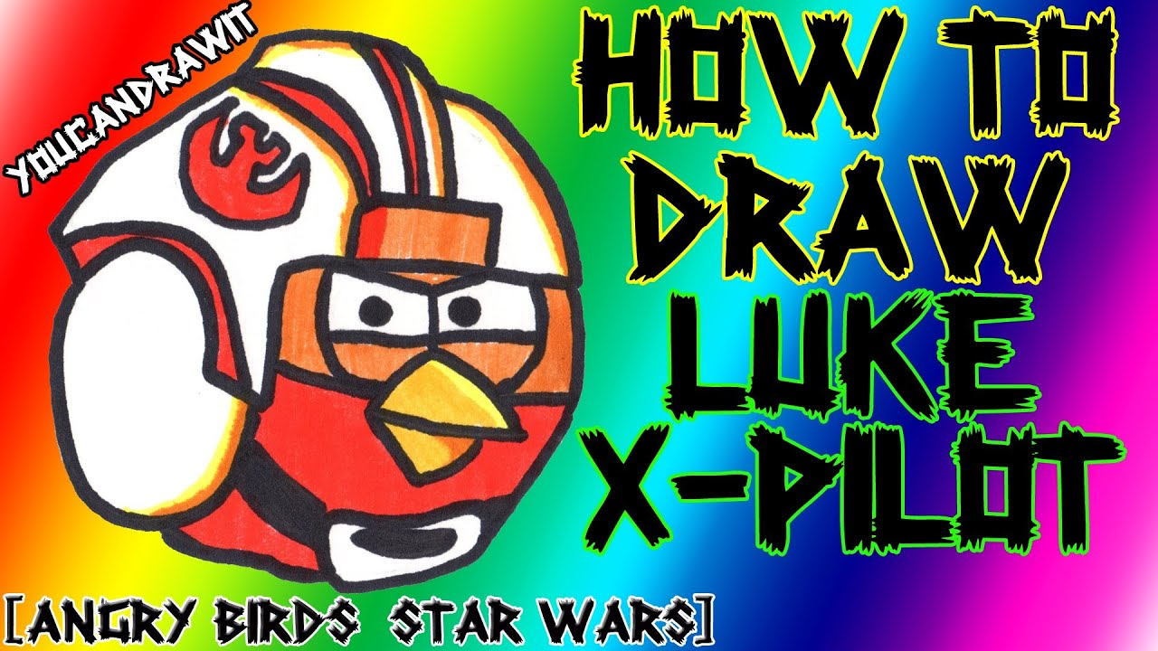 How To Draw Luke X-Pilot Bird From Angry Birds Star Wars