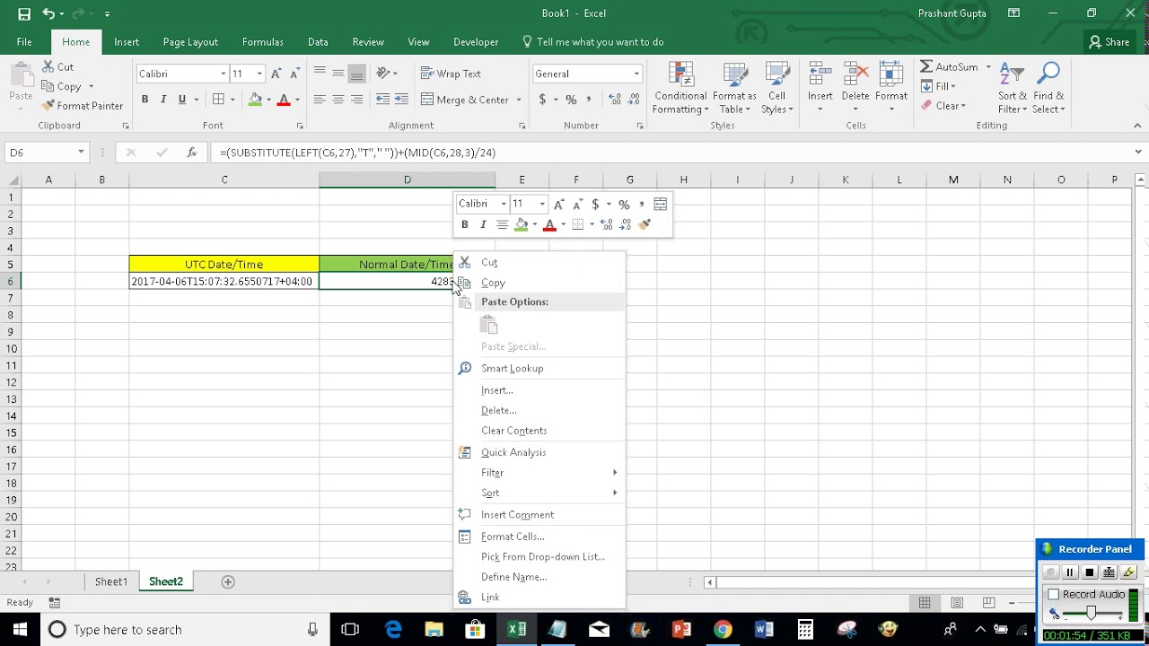 Convert Utc Datetime To Normal Datetime In Excel Youtube