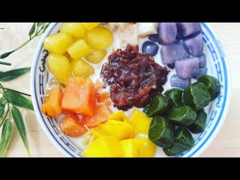 taiwanese-chewy-taro-balls-dessert-recipe-|-purple-sweet-potato,-mango,-matcha-|-台湾芋圆-|-紫薯、芒果、抹茶圆
