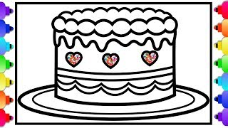 How to Draw a Rainbow Heart Cake for Kids Easy Step By Step 💜🌈💜🍰How to Draw a Birthday Cake