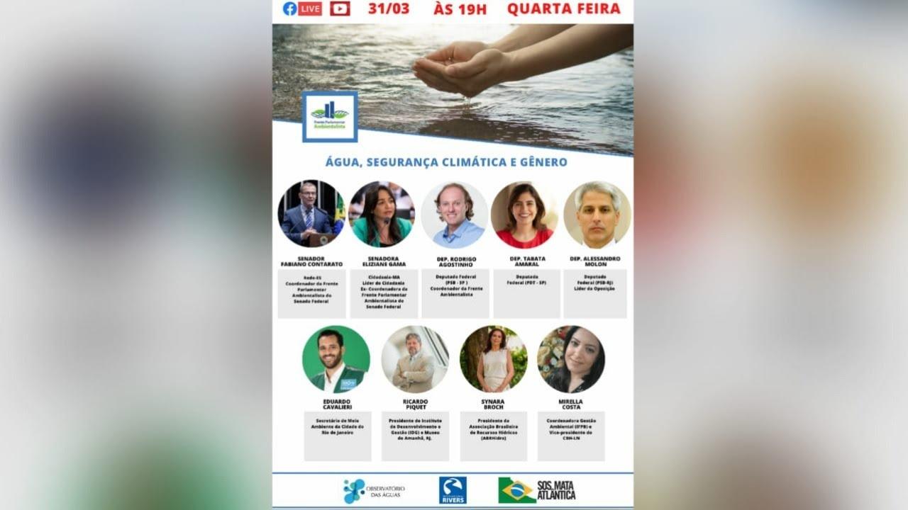 """Live """"Água, Segurança Climática e Gênero"""" da Frente Parlamentar Ambientalista"""