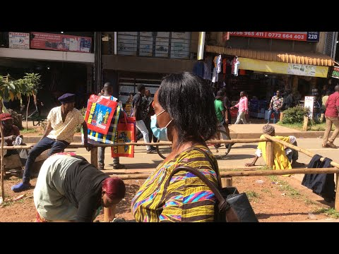Walking in Owino Market Park Yard, Downtown Kampala