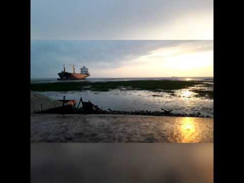 ship breaking yeard sunset time lapse at chittagong