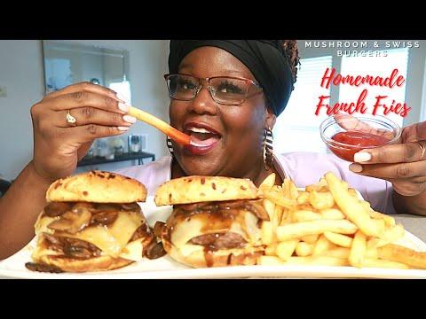 mushroom-and-swiss-burgers-homemade-french-fries-recipe-mukbang-|-asmr-실제-요리-소리