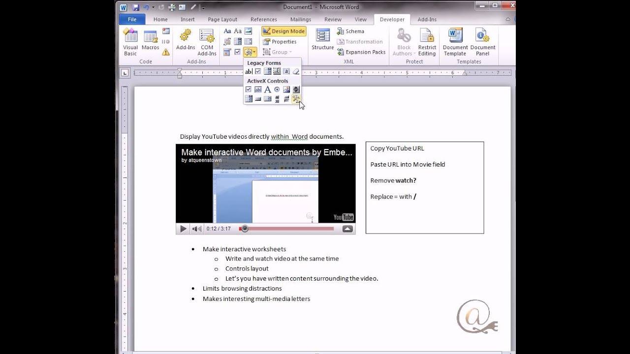 Placing a YouTube video in a Word Document - YouTube