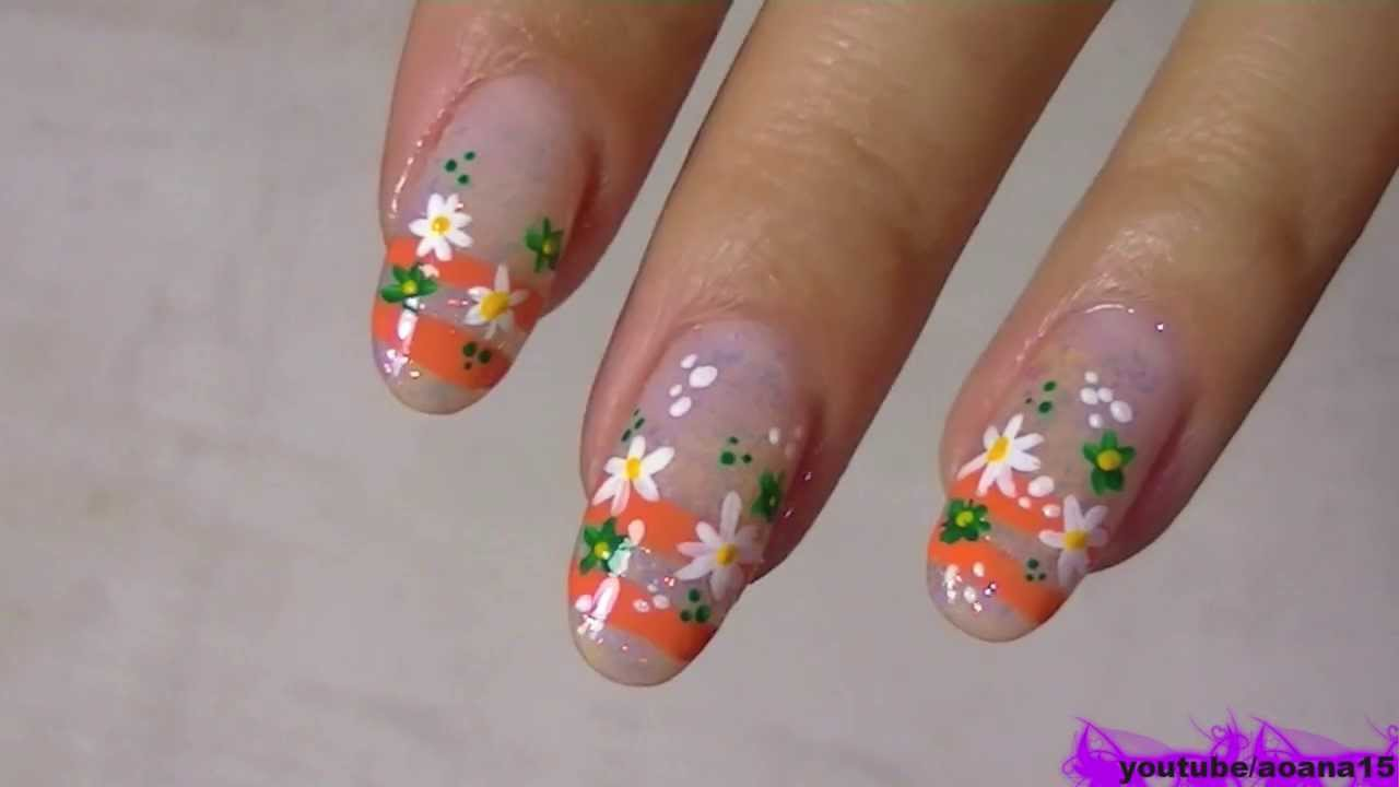 cute small simple flower nail art