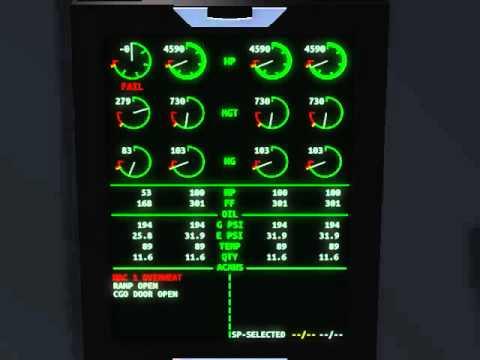 FlightGear Canvas - EICAS test