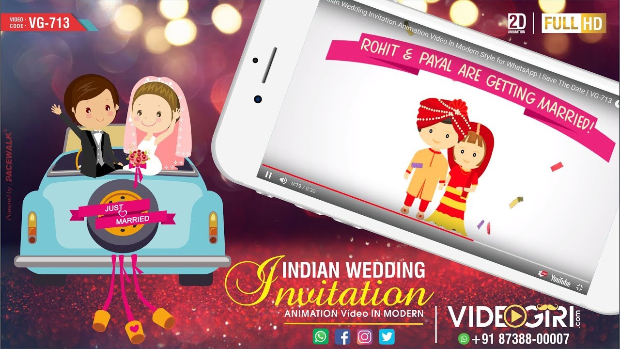 Indian Wedding Invitation Animation Video in Modern Style for ...