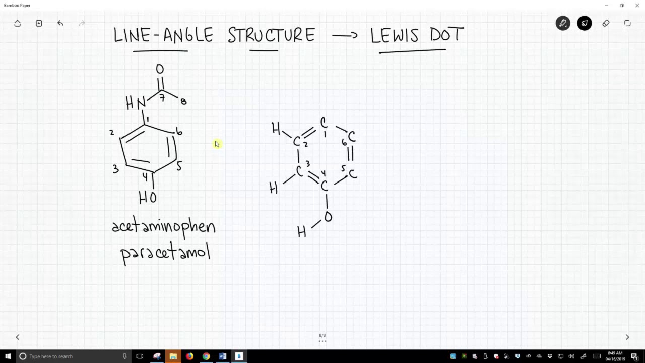 Acetaminophen - Line-angle To Lewis Dot Structure