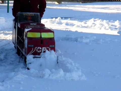 Iron Horse Park Airdrie Alberta Plowing snow with miniature train