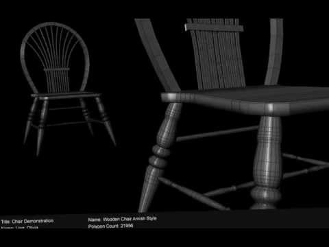 3D Modeling - Wooden Chair (wireframe to texture)