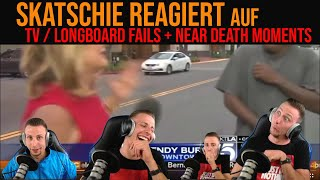 Skatschie REAGIERT auf TV/LONGBOARDFAILS und NEAR DEATH MOMENTS (Try not to laugh)