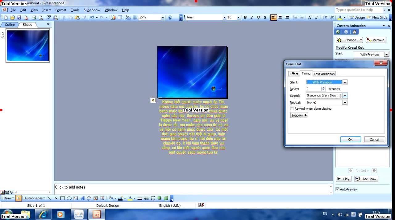 Hướng dẫn tạo hiệu ứng chữ chạy lên trong powerpoint