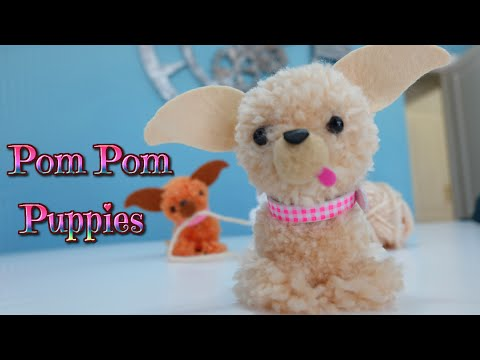 Easy crafts for kids puppy dog with wool pompoms - Manualidades con hilo ...