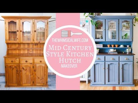 Mid Century Style Kitchen Hutch Makeover