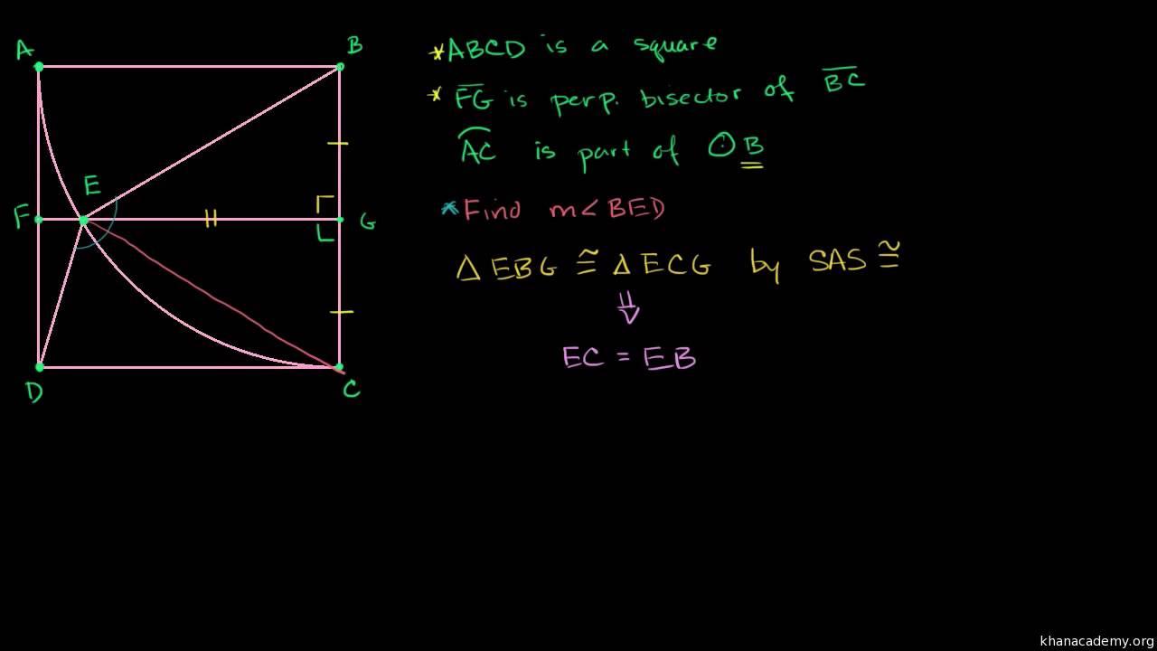 Opgave med en vinkel, et kvadrat og en cirkel