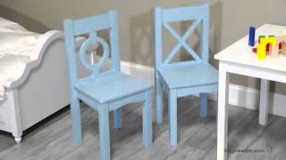 Lipper Childrens Table And 2 Chair Set - White & Blue - Product Review Video