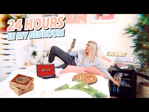 24 HOURS in my BEDROOM!! Isolation IDEAS when youre bored af!!