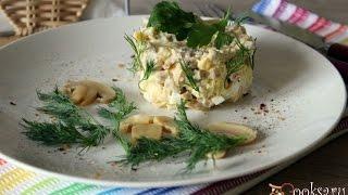 Мясной салат с сыром и грибами. Рецепт салата