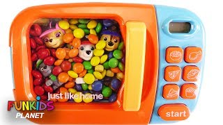 Learning Colors Videos for Kids: Paw Patrol Skye & Chase Stuck in Magical Microwave Cars & M&Ms