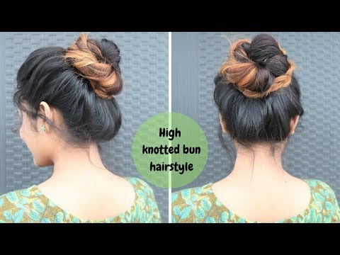 High Knotted Bun Hairstyle /Messy Bun Hairstyle for Medium To Long Hair thumbnail