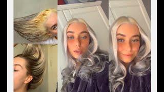 ♡ DIY silver hair with platinum blonde streaks ♡