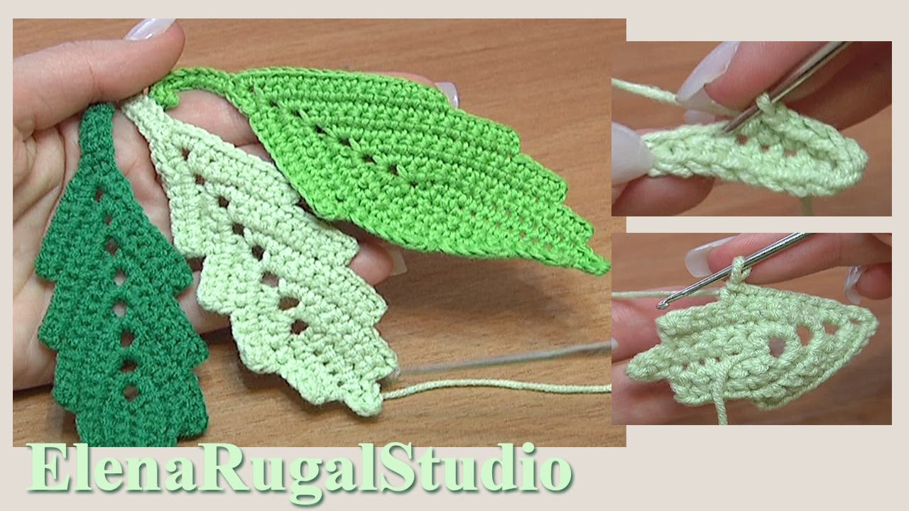 How To Crochet Two Side Leaf With Chain Spaces In The