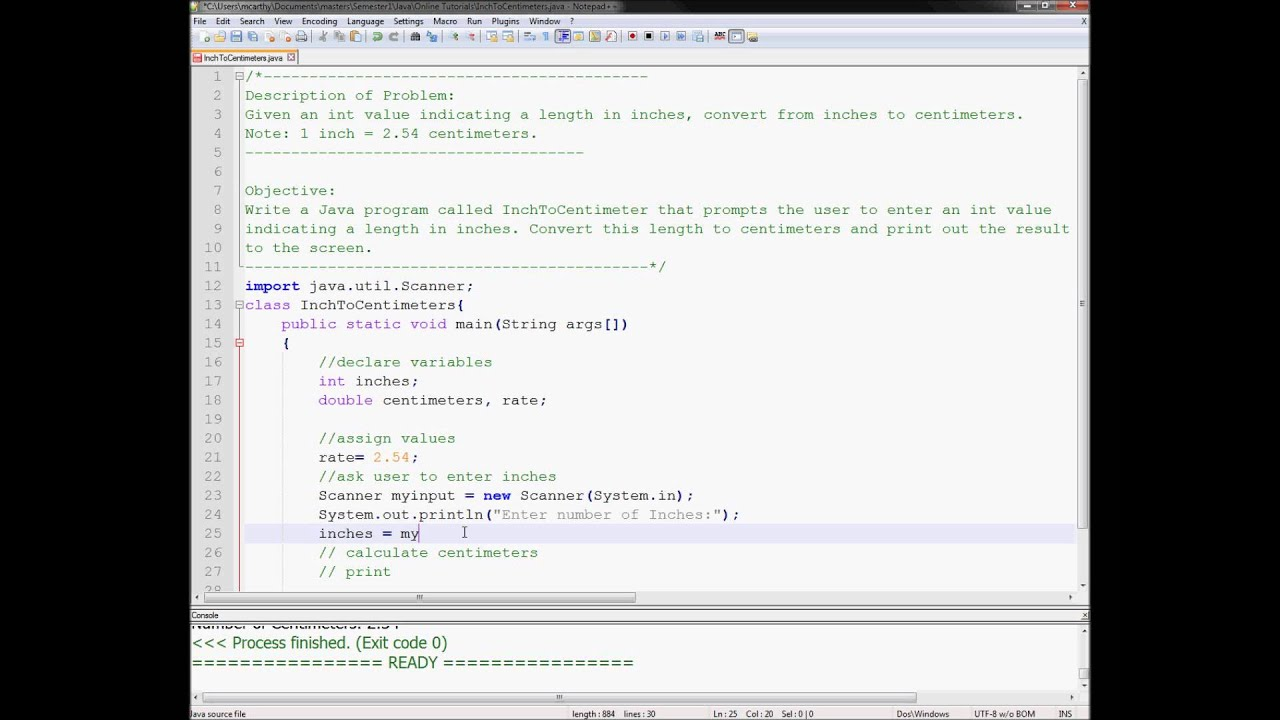 Exercise 1 Week 2 - Java Tutorials Inch to Centimeters Converter ...