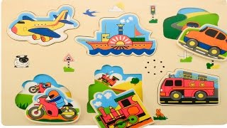 Puzzle for toddlers helicoptertruck motorbike bike train мультфильм для детей