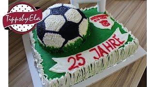 2 stöckige Torte Fußball Torte Fußballfeld Torte 3D Sahne Torte Anleitung Deutsch