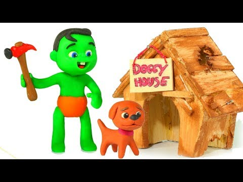 SUPERHERO BABIES BUILD A HOUSE FOR THE DOG ❤ Superhero Babies Play Doh Cartoons For Kids