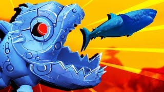 GIANT ROBOT Fish DEVOURS GREAT WHITE SHARKS - Feed and Grow Fish Gameplay