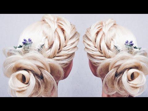 ПРИЧЕСКА без плойки!  ♡ РОЗА ИЗ ВОЛОС ♡ Flower Braid Hair Tutorial ♡ LOZNITSA