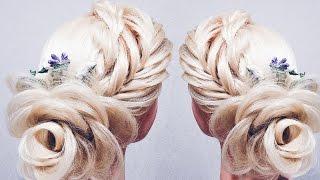 Прическа на  14 февраля. ПРИЧЕСКА без плойки!  ♡ РОЗА ИЗ ВОЛОС ♡ Flower Braid Hair Tutorial ♡