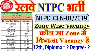 Railway NTPC Zone Wise Vacancy Details CEN-01/2019 Best Zone to Apply. NTPC Total Post Zone wise