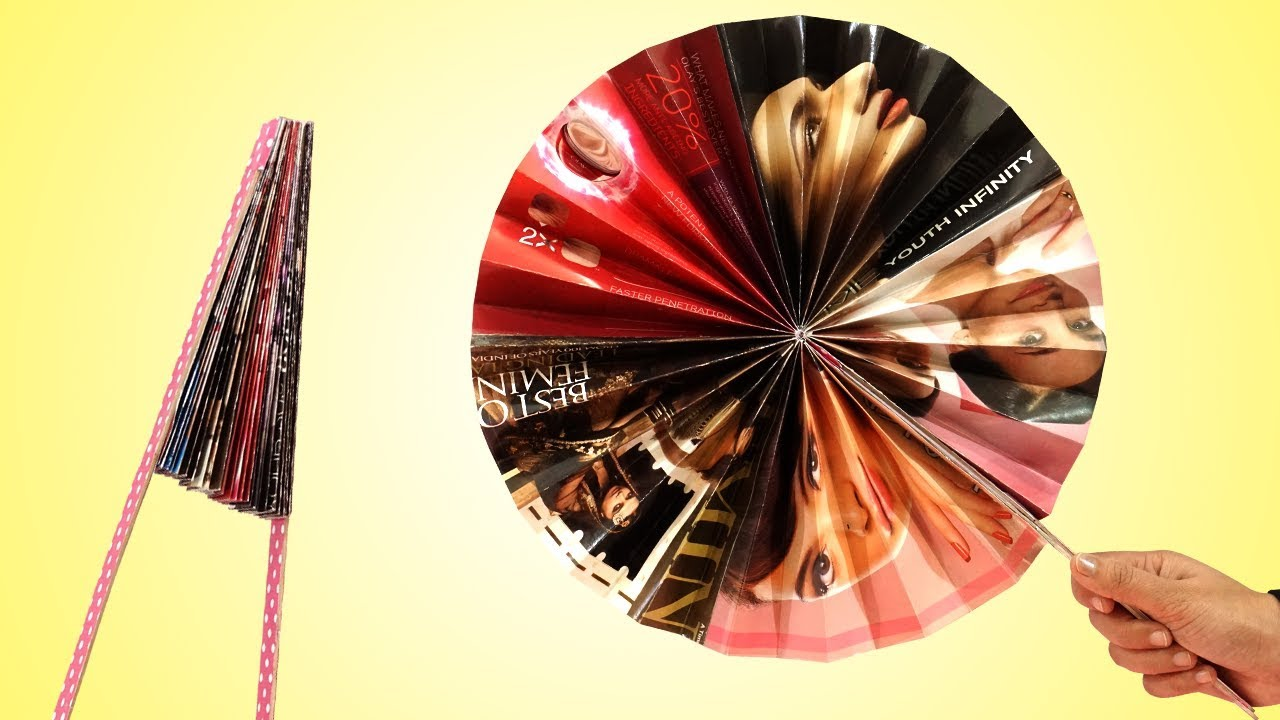 Amazing easy paper folding fan making best out of for Amazing ideas for best out of waste