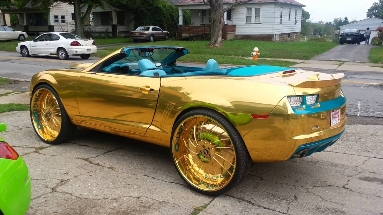Gold N Teal Camaro Ss Convertible On 30 Quot Forgiatos Hd