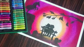 Making a Moon light scenery drawing with oil pastels for beginners