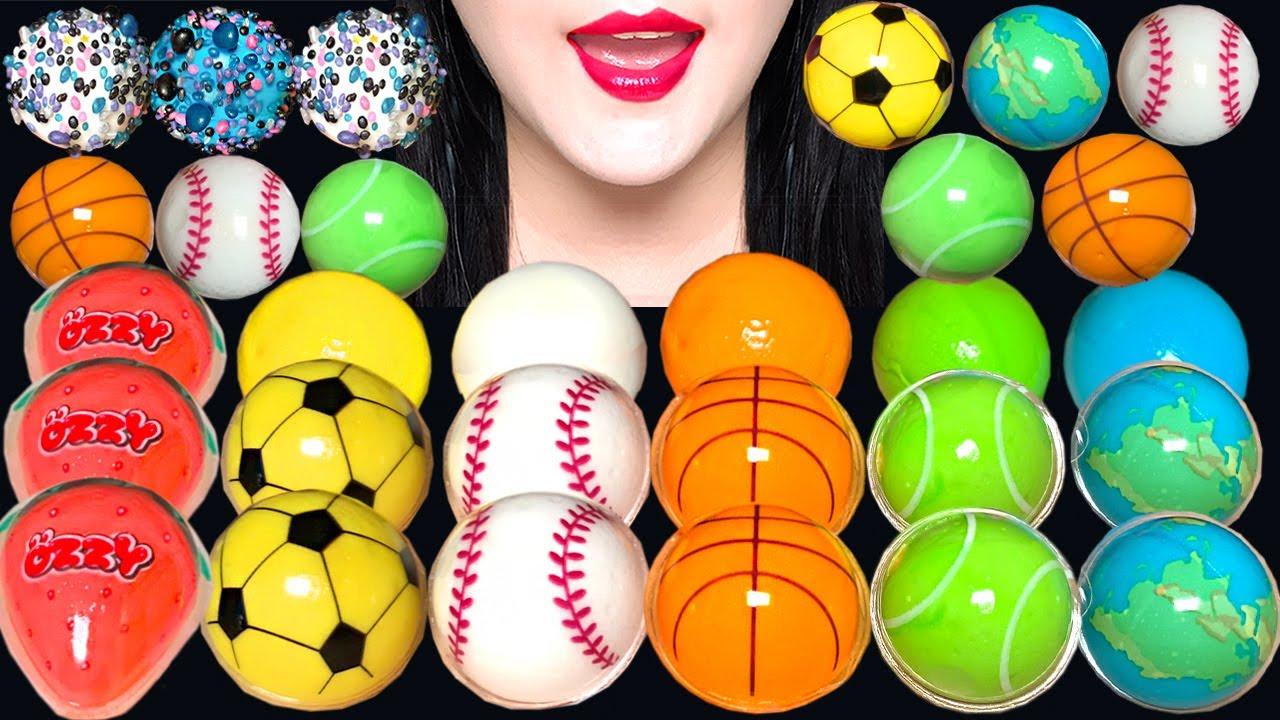 ASMR BASKETBALL GUMMY, BASEBALL GUMMY, TENNIS BALL GUMMY JELLY 농구공 젤리, 야구공 젤리, 축구공 젤리 먹방
