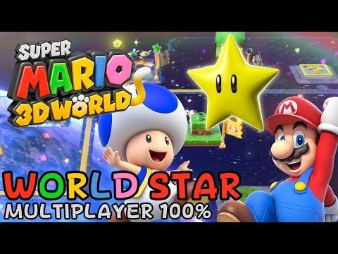 Super Mario 3D World - World Star (Bonus World, 3-Player 100% walkthrough)